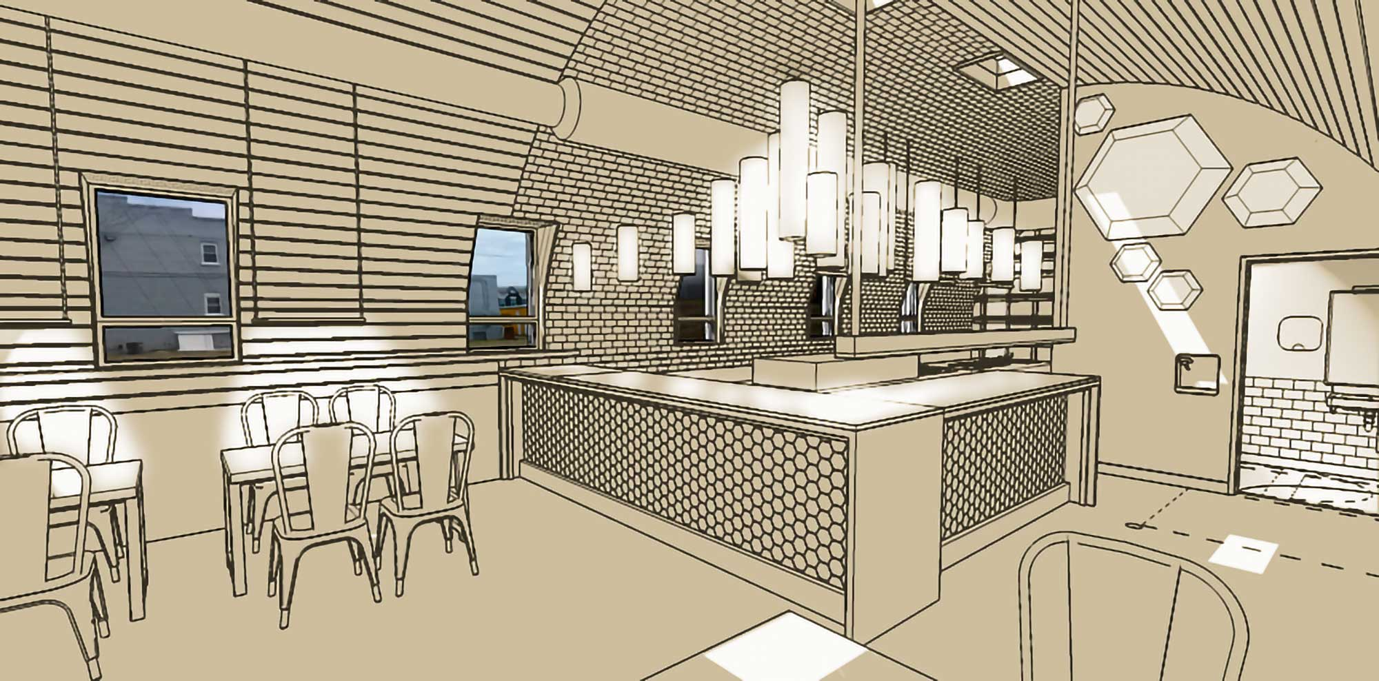 Restaurant Interior counter rendering