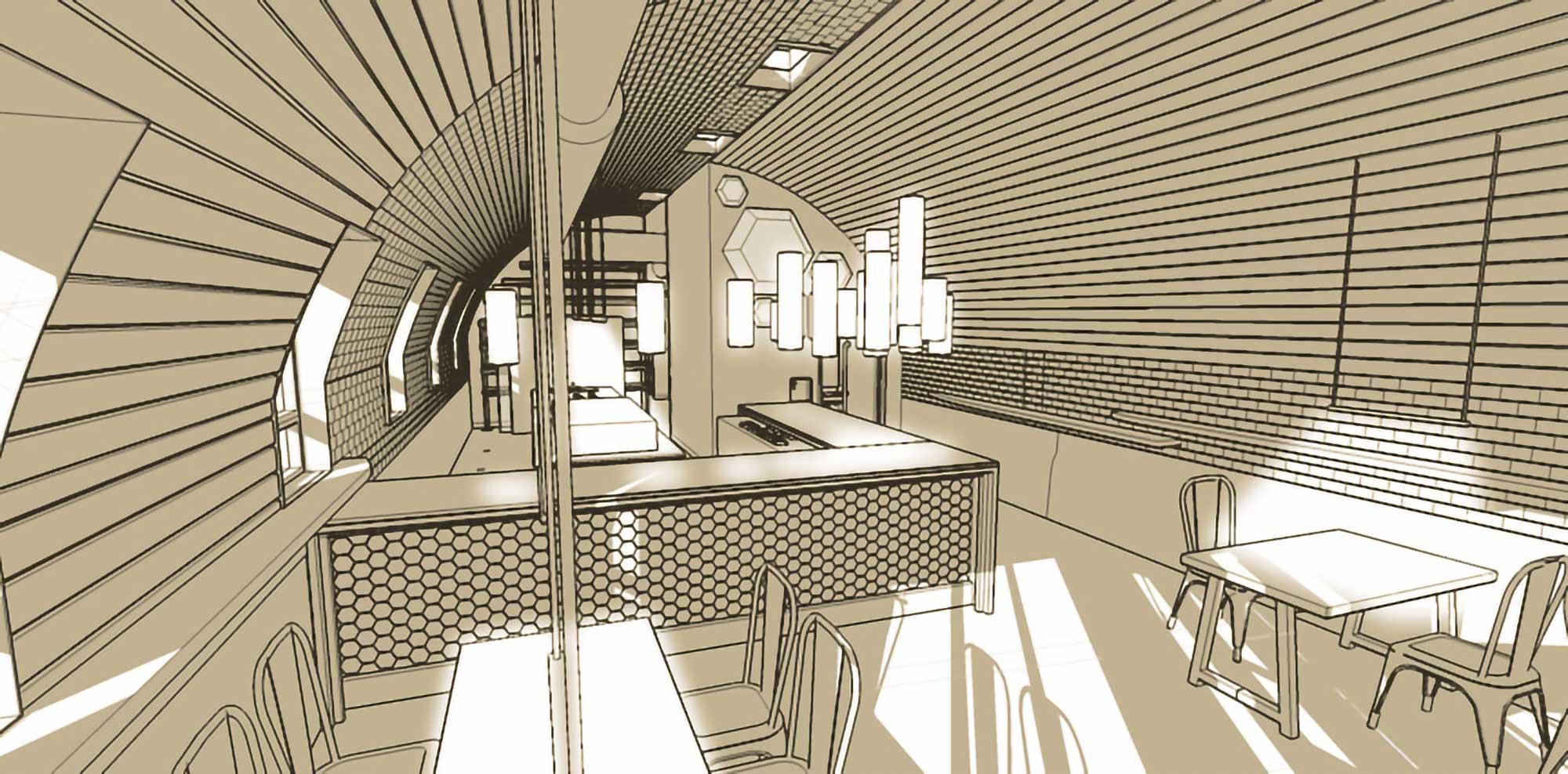 Restaurant Interior dining space rendering