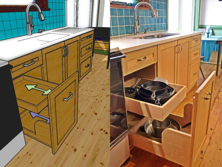 Rancher Kitchen renovation cookware pullout (rendering and installed).