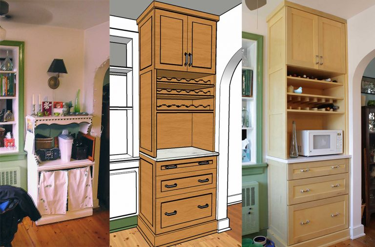 Rancher Kitchen renovation wine storage and counter hutch (before, rendering, and installed).
