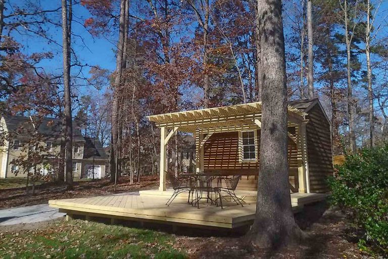 Yard Deck and Trellis in Fall