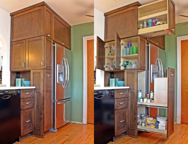 Floor-to-Ceiling storage cabinet (open and closed)