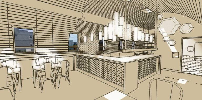 Restaurant Interior counter rendering